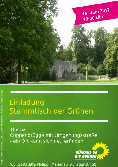 Einaldung Grüner Stammtisch Gemeinde Coppenbrügge