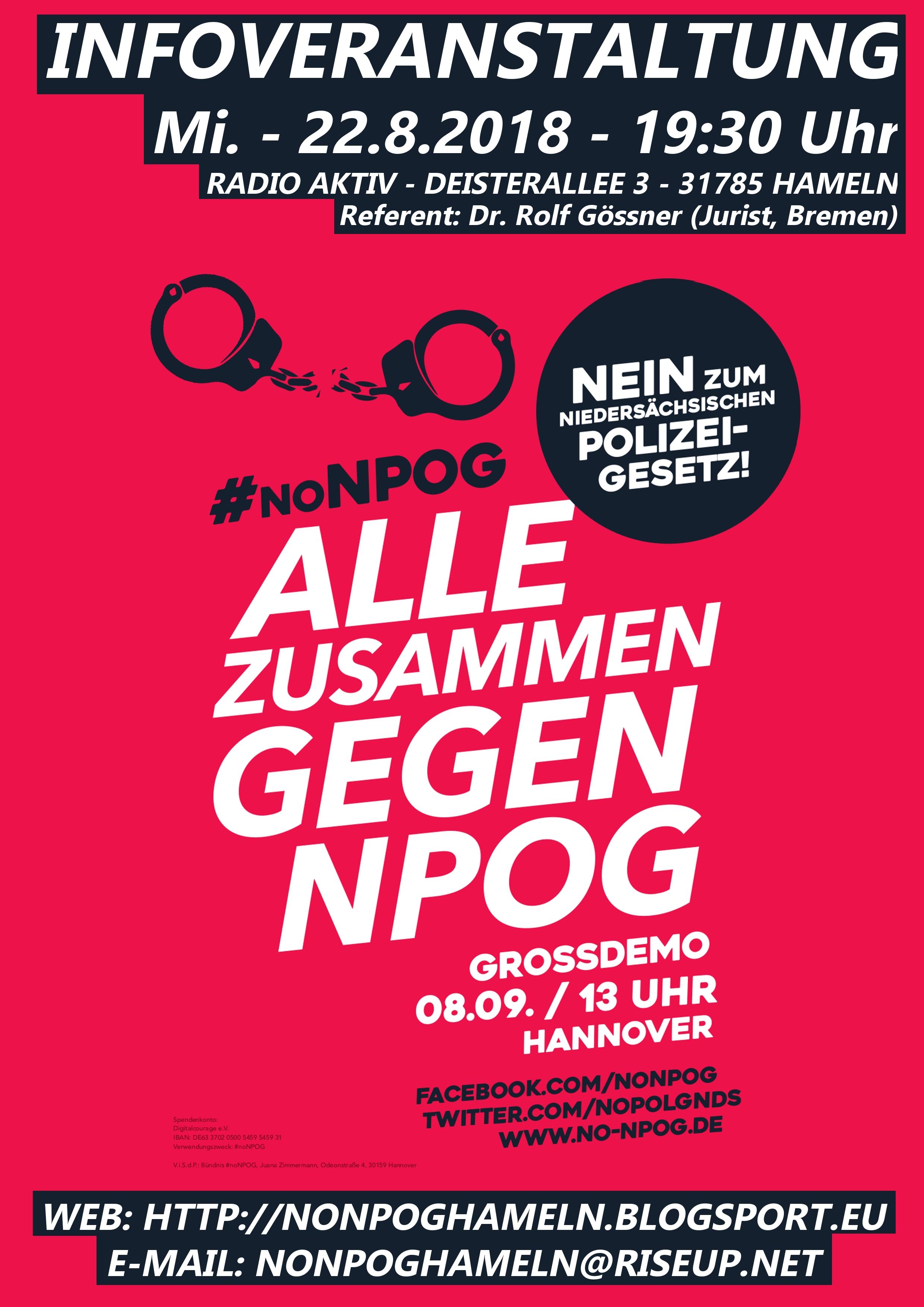 Infoveranstaltung zum neuen niedersächsischen Polizeigesetz