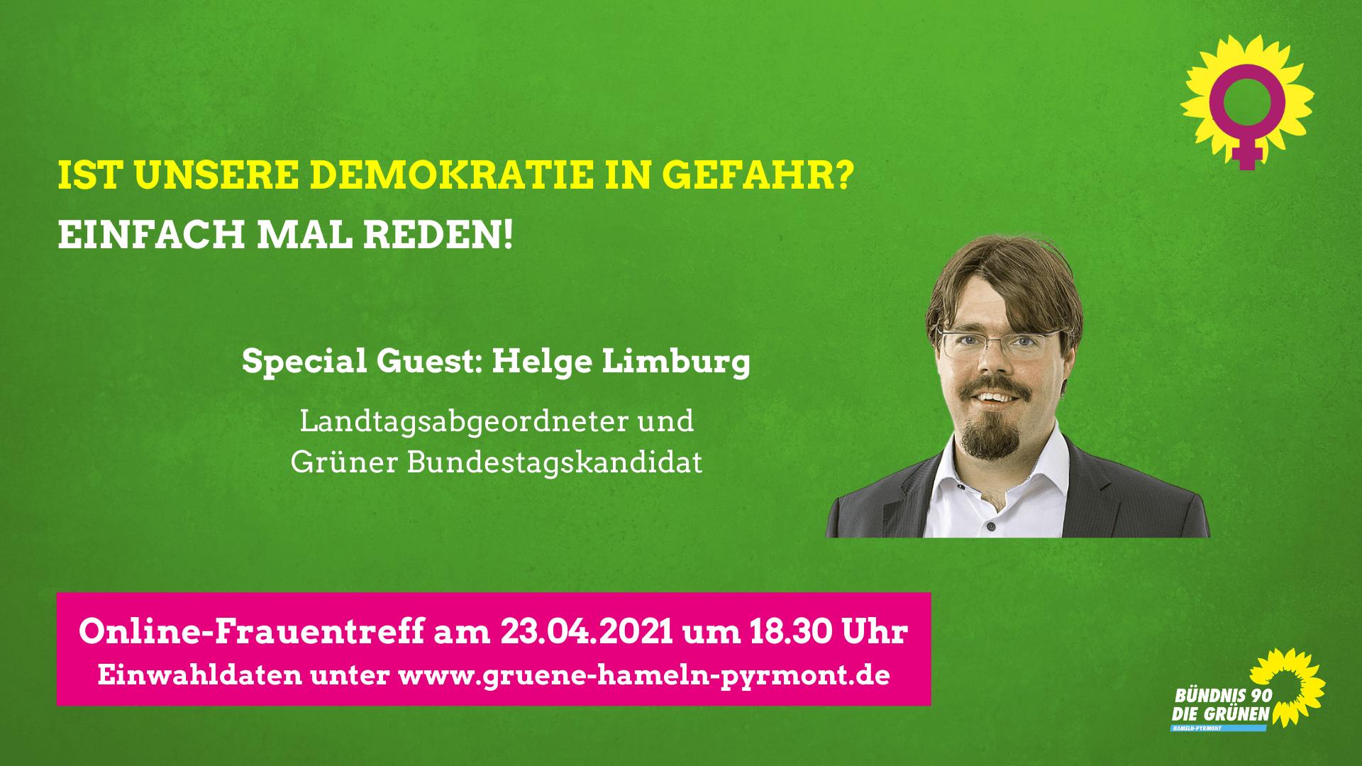 Einladung zum Frauentreffen: Einfach mal reden! Thema: Ist die Demokratie in Gefahr? mit Helge Limburg am 23.4. um 18:30 Uhr