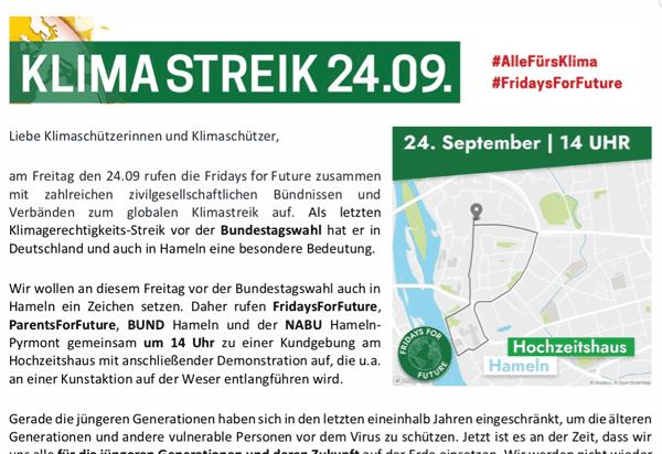 Klimastreik in Hameln am 24.9.