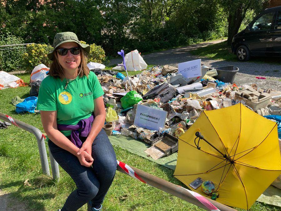 Müll-Sammelaktion des BUND an der Weser …